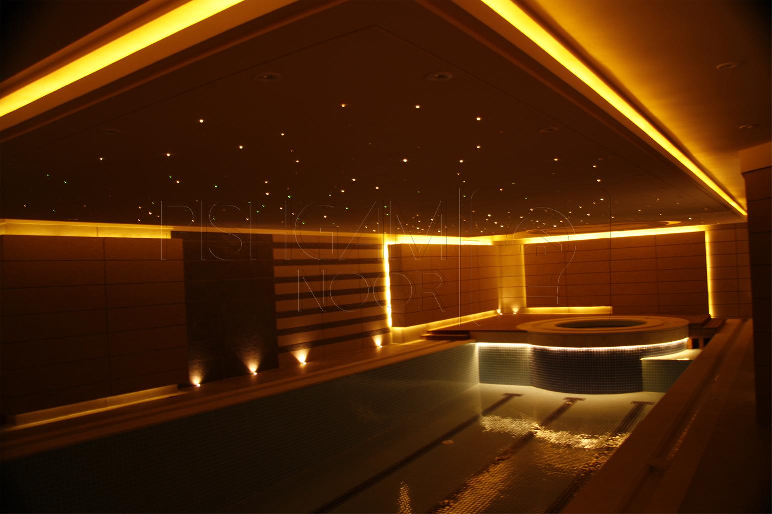 روش نورپردازي استخر ؛ سيستم روشنايي کف، ديوار و سقف استخر