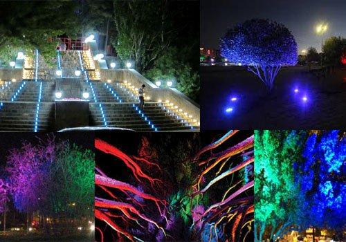 استفاده از نورپردازی در فضای باز برای ایجاد یک واحد شهری